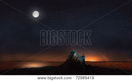 moon and stars in desert with abstract lines