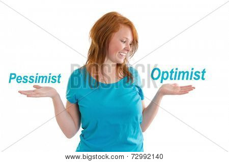 Young girl smiling with optimist and pessimist signs