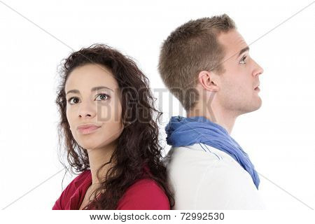 Portrait of two young people arguing