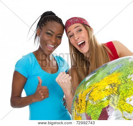 Happy Caucasian and African friends with thumbs up