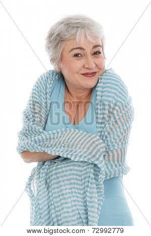 Senior woman feeling cold