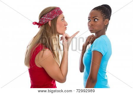 Caucasian woman blaming her african friend