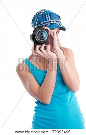 Young woman posing with photocamera