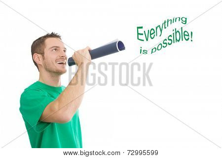 Caucasian man raising attention that everything is possible