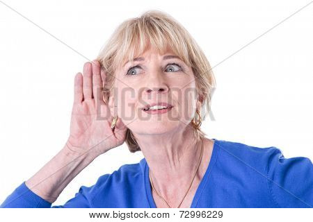 Older woman hearing isolated on white background