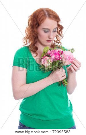 Isolated lovesick woman with flowers