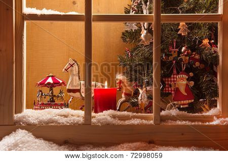 Atmospheric Christmas window sill decoration:snow,tree,candle,rocking horse and carousel