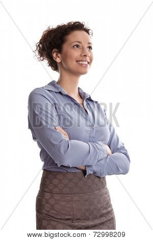 Success:  satisfied business woman smiling wearing blue blouse folding arms on white background