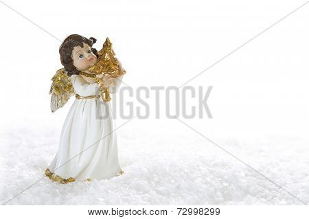 Christmas angel playing golden harp isolated on white background with snow