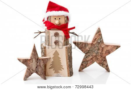 Wooden Christmas decoration: stars and santa hat on white background