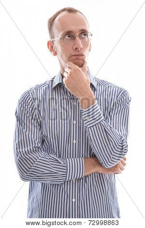 Man with glasses touching chin and disappointed isolated on white background