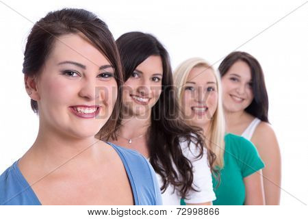 Group of happy trainees in first jobs isolated on white background - girls and students