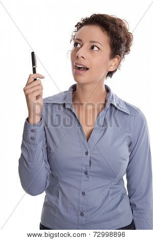 Young business woman in a blue shirt looking surprised holding pen isolated on white background