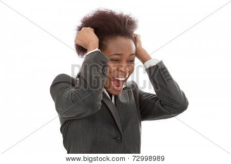 Business: frustrated black woman pulling out hair screaming isolated on white background