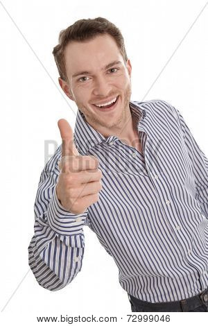 Happy young businessman - isolated with a blue shirt - thumbs up