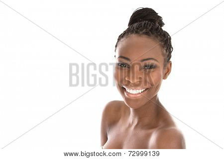 Portrait young African American woman - black and white - isolated on a white background