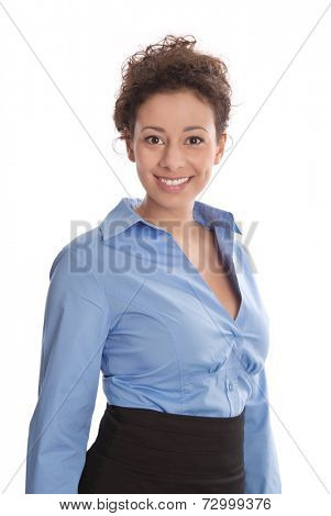 Business : young pretty successful woman wearing blue blouse and smiling at camera isolated on white background