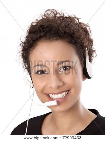 Business: pretty woman wearing headset and smiling at camera isolated on white background