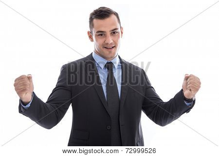 Business: successful man waist up with fists facing camera isolated on white background - winner