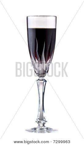 Glass With Red Wine, Isolated On White.