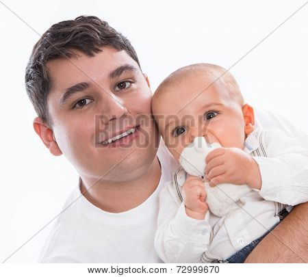 Happy together: young father or single parent with baby isolated on white background