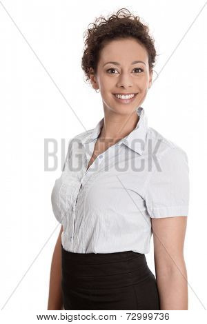 Proud pretty businesswoman or apprentice isolated on white background