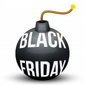 stock photo of bomb  - Bomb About To Blast with Black Friday sales tag - JPG
