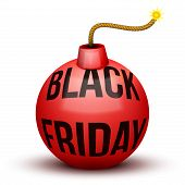 pic of time-bomb  - Red Bomb About To Blast with Black Friday sales tag - JPG