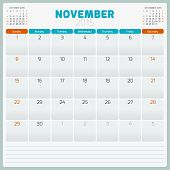 stock photo of tuesday  - Calendar planner 2015 template week starts sunday - JPG