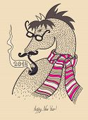 image of happy new year 2014  - original hipster horse in glasses - JPG