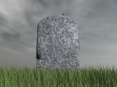 stock photo of dead mouse  - Mouse on tombstone by grey cloudy day  - JPG