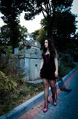pic of walking dead  - Walking pretty vampire girl portrait on graveyard