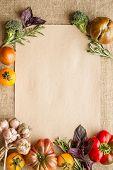pic of sackcloth  - Recipe sheet template with vegetables on a sackcloth - JPG