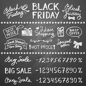 stock photo of friday  - set of letterings and hand drawn elements for black friday design - JPG