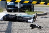 picture of accident victim  - Male victim of the car accident horizontal - JPG