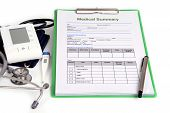 foto of summary  - Medical summary document and some basic medical instrument - JPG