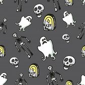 picture of drow  - Halloween doodles seamless pattern or background about death - JPG