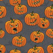 picture of drow  - Halloween doodles seamless pattern or background wiyh Pumpkin - JPG