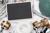 stock photo of mechanical drawing  - plumbing and blackboard for the text on the drawing - JPG