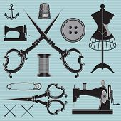 image of tailoring  - vector set of items and equipment to topics tailor clothing repair - JPG