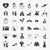 stock photo of ring-dove  - Wedding icons set  - JPG