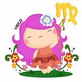 stock photo of virgo  - a cute girl represent the zodiac sign of virgo - JPG