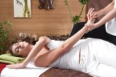 picture of acupressure  - Young woman enjoying massage - JPG