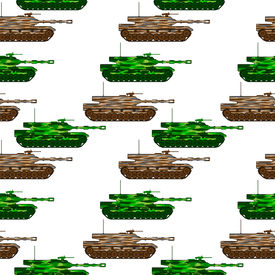 foto of panzer  - Panzer seamless pattern isolated on white background - JPG