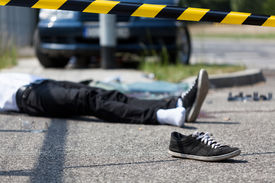 image of accident victim  - Male victim of the car accident horizontal - JPG