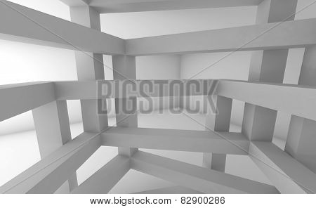 3D Abstract Architecture Background, White Constructions