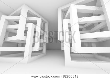 Abstract 3D White Modern Interior With Chaotic Cubes