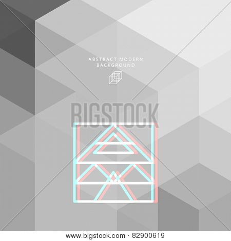 Geometric Pattern with Hipster Logo for Website, Brochure, Flyer or Poster Design. Monochrome Illustration for Business Cover Design.