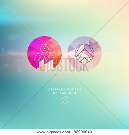 Abstract Blurred Background with Hipster Geometric Patterns and Modern Icons and Signs. Modern Labels for Business Cards and Logo Designs. Sky with Shine. Vector Illustration.