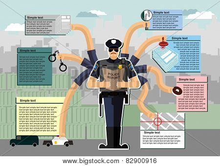 Police infographic. Police at work. Working time. Service in the police. Investigation, arrest, Chas
